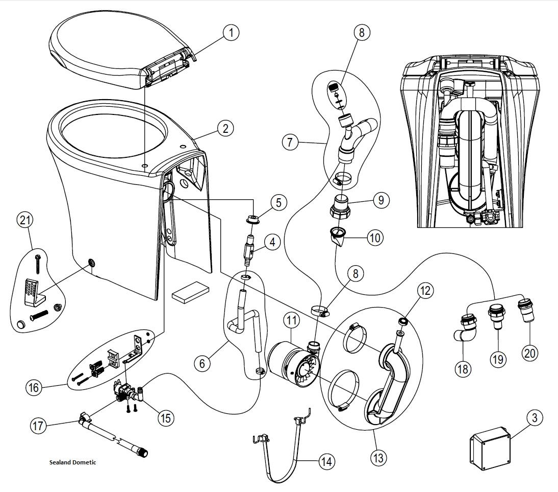 Sealand Dometic Masterflush 8600 Tall Spare Parts